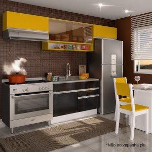 Cozinha Compacta Glamy Marina (Não acompanha Tampo e Pia) Madesa Branco/Ébano/Amarelo
