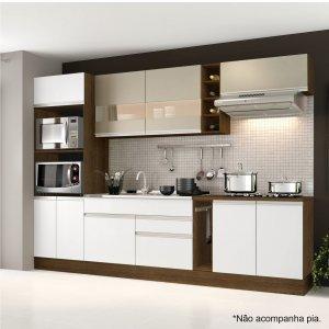 Cozinha Completa com Balcão sem Pia e Tampo 7 Peças Madesa Rustic/Branco/Bp Bronze