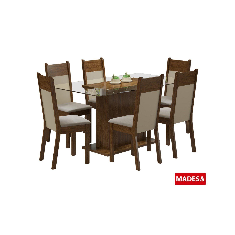 Sala jantar 6 cadeiras atlanta madesa rustic crema p gh for Sala 2 conjunto de artes escenicas