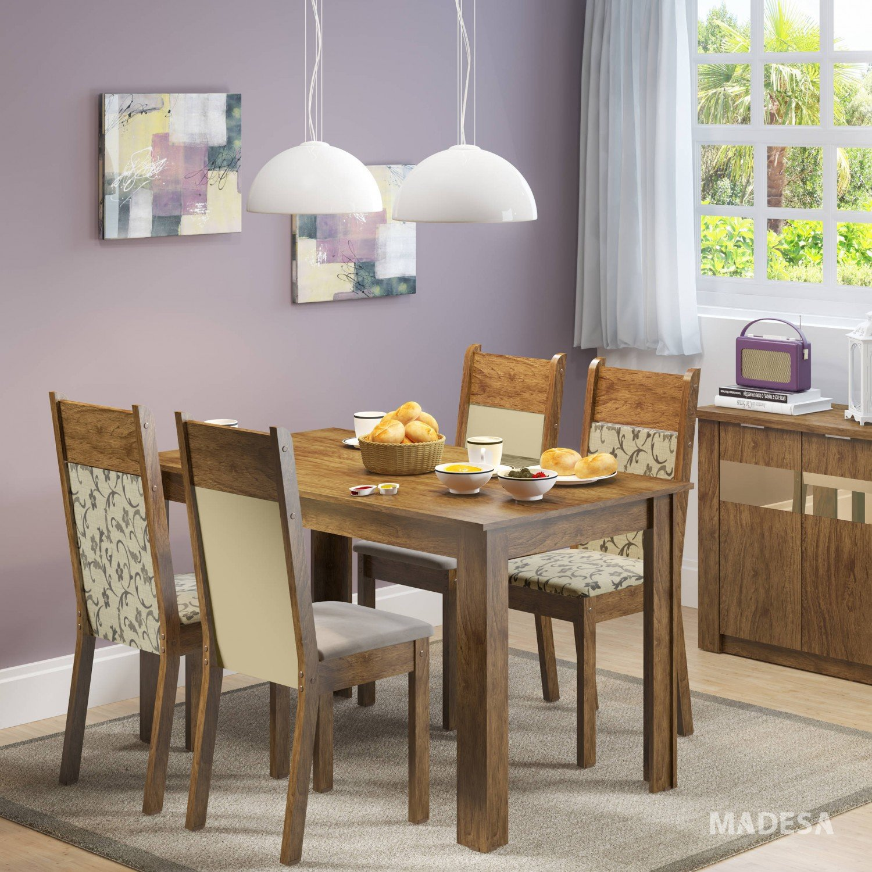 Sala jantar 4 cadeiras havana madesa rustic suede p ebwt for Sala 2 conjunto de artes escenicas