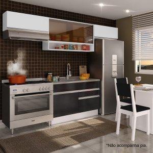 Cozinha Compacta Glamy Marina (Não acompanha Tampo e Pia) Madesa Branco/Ébano