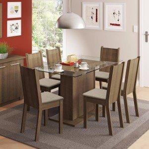 Conjunto Sala de Jantar Mesa e 6 Cadeiras Gales Madesa Rustic/Pérola