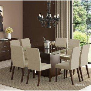 Conjunto Sala de Jantar Mesa e 8 Cadeiras Catharine Madesa Tabaco/ Saara