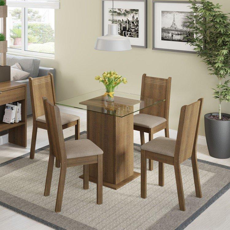 Conjunto sala de jantar mesa e 4 cadeiras magda madesa for Sala 2 conjunto de artes escenicas