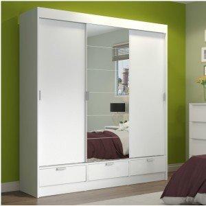 Guarda Roupa Casal 6 Espelhos 3 Portas 3 Gavetas Solari Madesa Branco