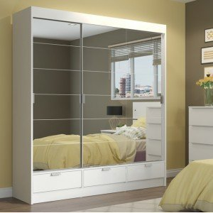 Guarda Roupa Casal 18 Espelhos 3 Portas 3 Gavetas Solari Madesa Branco