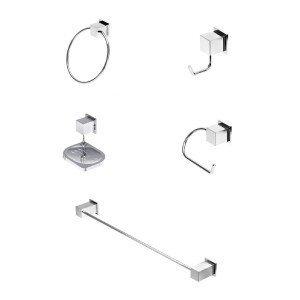 Kit Acessórios para Banheiro com 5 peças Home Meber Cromado