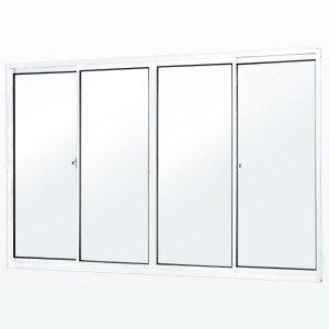 Janela de Correr 4 Folhas 2 Fixas Soft MGM 5,5 100 x 150 Vidro Mini Boreal Branco