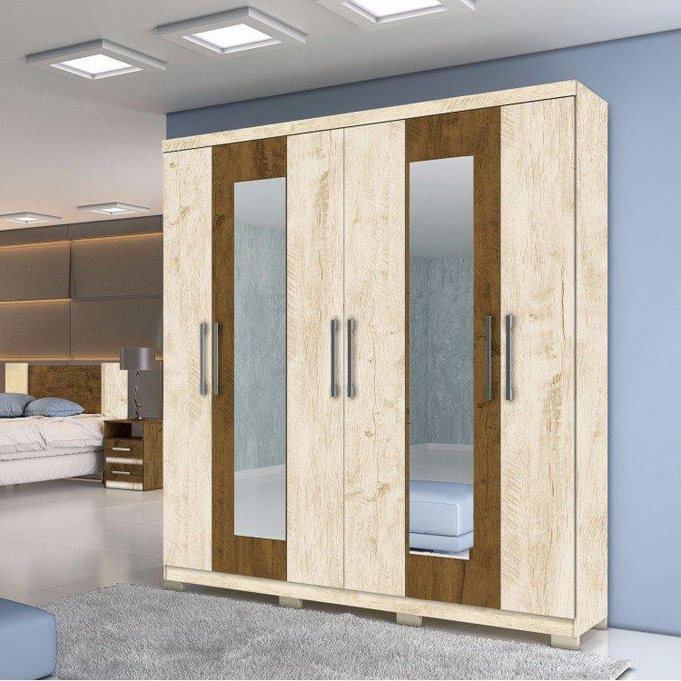Guarda Roupa Wood ~ Guarda Roupa Casal com Espelho 6 Portas e 3 Gavetas Sydney Moval Avel u00e3 Wood Castanho Wood em
