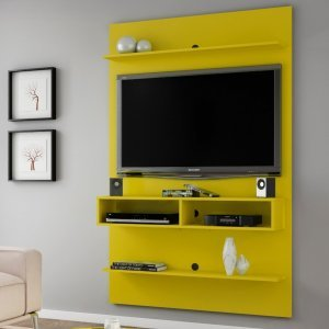 Painel para TV até 47 Polegadas 2 Nichos Vega Móveis Bechara Amarelo