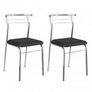 Conjunto 2 Cadeiras Henry Carraro Móveis Preto