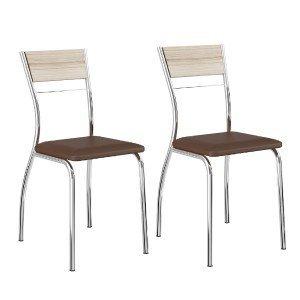 Conjunto 2 Cadeiras Tubular em Aço Ricci 1721 Carraro Anis/Cacau/Cromado