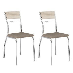Conjunto 2 Cadeiras Tubular em Aço Ricci 1721 Carraro Anis/Camurça Conhaque/Cromado