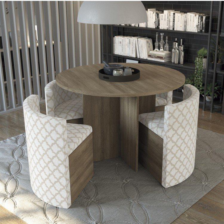 Conjunto sala de jantar mesa redonda 4 cadeiras estofadas - Mesa redonda 4 personas ...