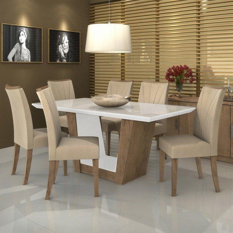 Conjunto sala de jantar mesa tampo mdf vidro 6 cadeiras for Sala 2 conjunto de artes escenicas
