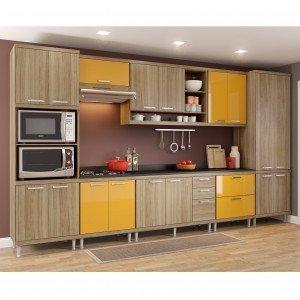 Cozinha Completa 9 Peças Sicília S16T Multimóveis Argila/Amarelo Gema