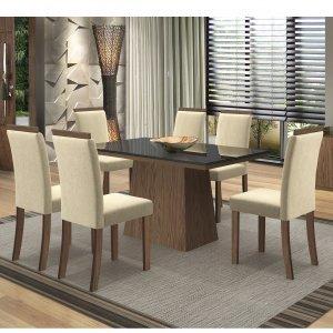 Conjunto Sala de Jantar Mesa Tampo MDF/Vidro Melissa 6 Cadeiras Paloma New Ceval Móveis Castanho/Preto/ST02