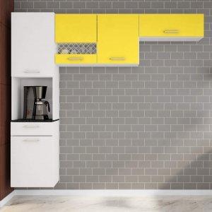Cozinha Compacta Suspensa em L 5 Portas 1 Gaveta Ana Poliman Móveis Branco/Amarelo