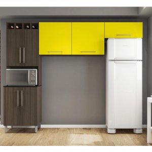 Cozinha Compacta 3 Peças 7 Portas Elisa Poliman Amêndoa/Amarelo