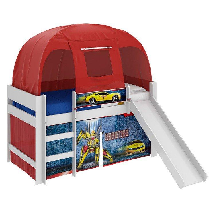 Cama infantil alta com barraca e escorregador robotics - Cama alta infantil ...