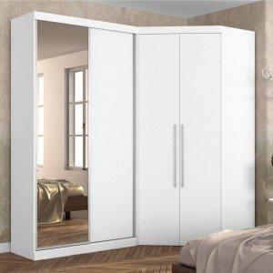 Guarda Roupa Casal com Espelho 4 Portas e LED Interno Alemanha Robel Branco