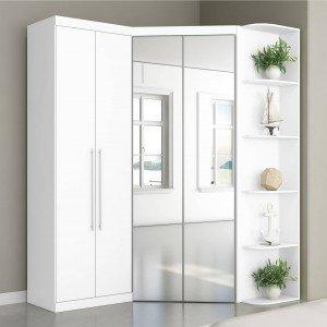 Guarda Roupa Casal com Espelho 4 Portas Prateleiras Laterais Inglaterra Robel Branco