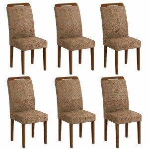 Conjunto 6 Cadeiras Athenas Rufato Ypê/Suede Amassado Chocolate