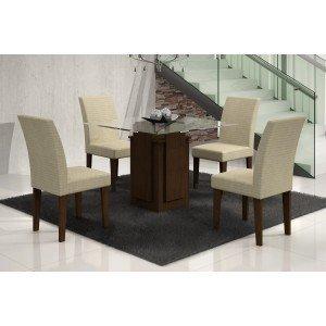 Conjunto Sala de Jantar Mesa Tampo Vidro Amsterdã 4 Cadeiras Grécia Rufato Castor/ Metelassê