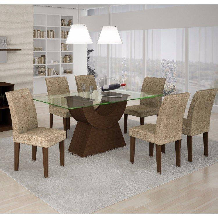 Conjunto sala de jantar mesa tampo vidro 160cm malta 6 for Sala 2 conjunto de artes escenicas