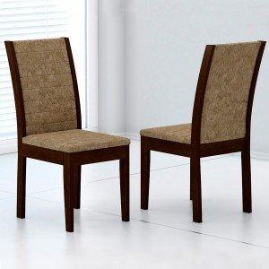 Conjunto 2 Cadeiras Aurora Rufato Castor/Suede Amassado Chocolate