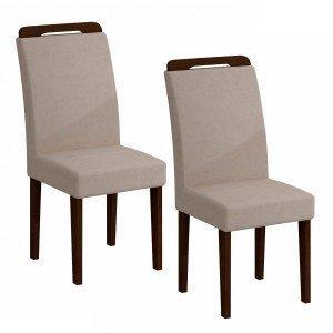 Conjunto 2 Cadeiras Athenas Rufato Castor/ Veludo Creme