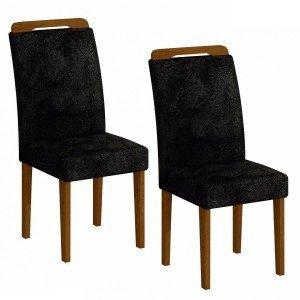 Conjunto 2 Cadeiras Athenas Rufato Imbuia/ Penna Preto