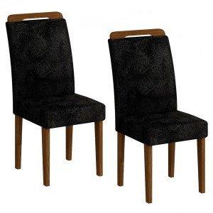 Conjunto 2 Cadeiras Athenas Rufato Ypê/Penna Preto