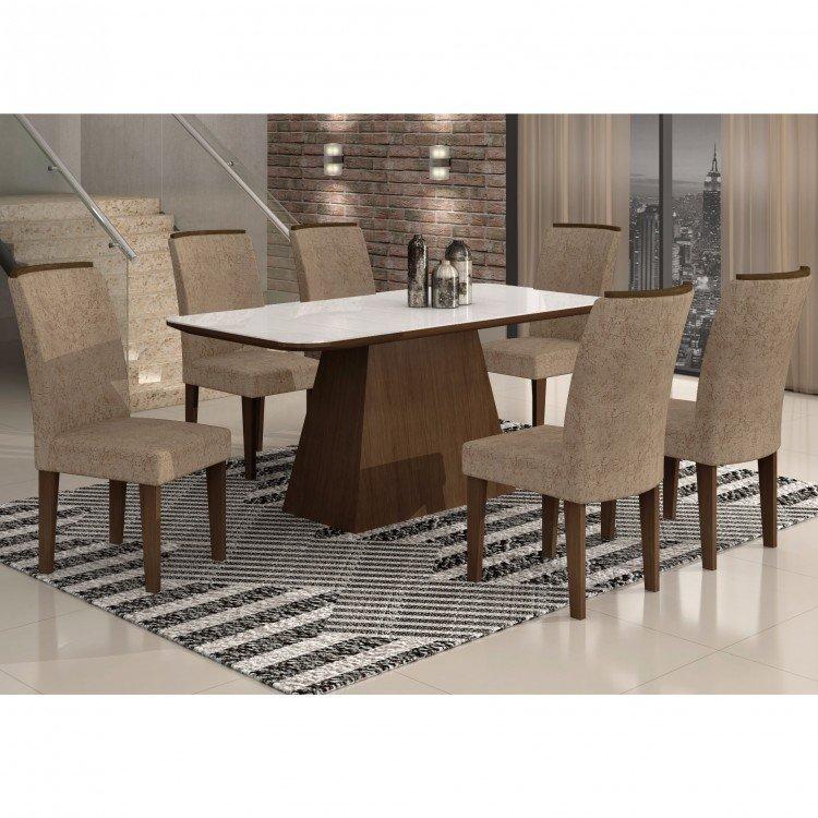 Conjunto sala de jantar mesa tampo vidro mdf branco 6 for Sala 2 conjunto de artes escenicas