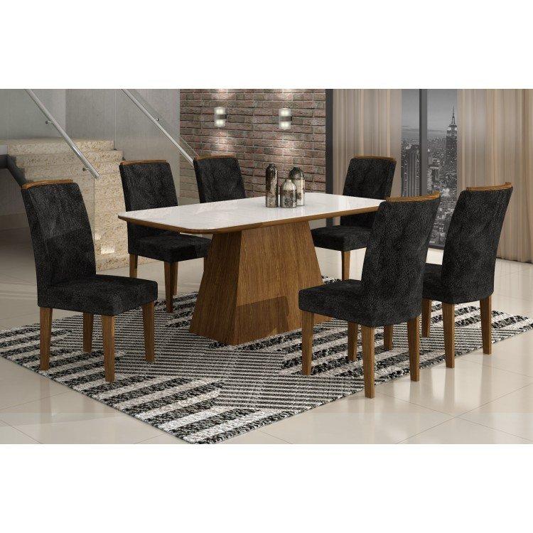 Sala De Jantar Viero Tabaco ~ Conjunto Sala de Jantar Mesa com Tampo de Vidro e 6 Cadeiras Lunara