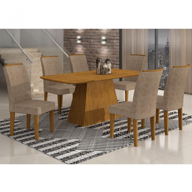 Conjunto Sala de Jantar Mesa com Tampo em MDF e 6 Cadeiras Lunara Rufato Imbuia / Suedi Amassado Chocolate