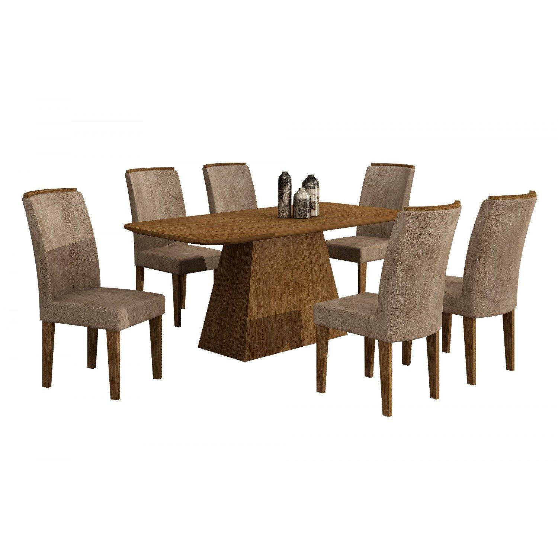 Conjunto Sala de Jantar Mesa com Tampo em MDF e 6 Cadeiras Lunara Rufato Ypê / Animalle Chocolate