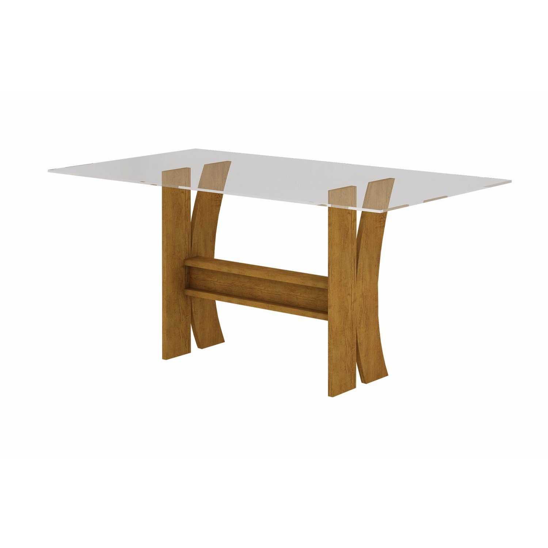 Mesa para Sala de Jantar com Tampo de Vidro 10mm 1,60m Karina Rufato Imbuia