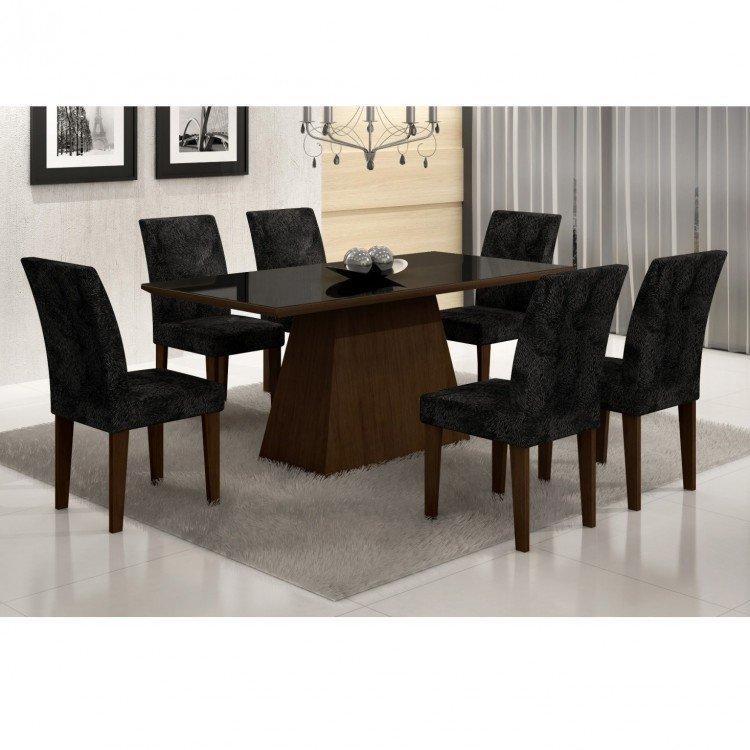 Conjunto sala de jantar mesa tampo vidro mdf preto luna 6 for Sala 2 conjunto de artes escenicas