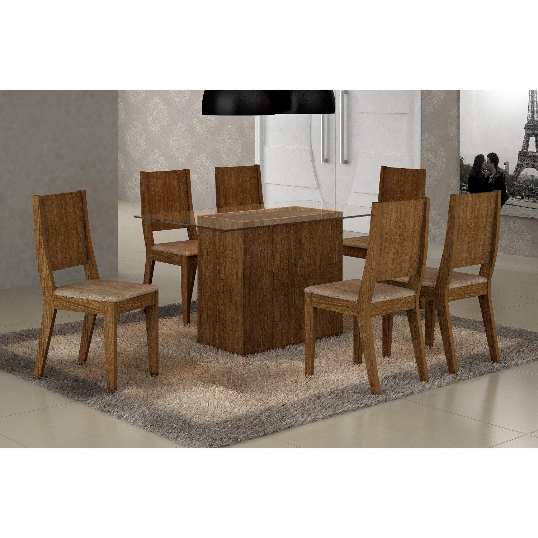 Menor pre o em mesa de jantar 6 cadeiras madeira vidro no for Sala 2 conjunto de artes escenicas