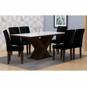 Conjunto Sala de Jantar Mesa Tampo Vidro/MDF Branco 180cm Verona 6 Cadeiras Grécia Rufato Castor/ Penna Preto