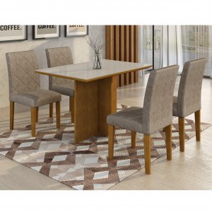 Conjunto Sala de Jantar Mesa Irlanda Tampo MDF/Vidro 120cm 4 Cadeiras Irlanda Rufato Imbuia/Branco/Suede Chocolate