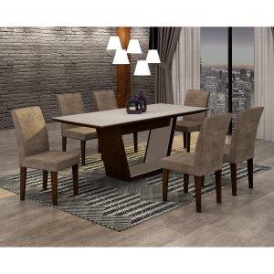Conjunto Sala de Jantar Mesa Tampo MDF/Vidro 180cm e 6 Cadeiras Alice Rufato Castor/Off White/Animalle Chocolate