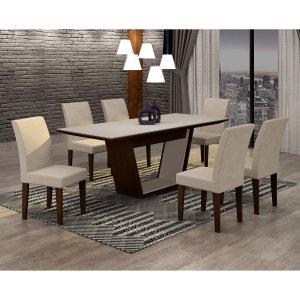 Conjunto Sala de Jantar Mesa Tampo MDF/Vidro 180cm e 6 Cadeiras Alice Rufato Castor/Off White/Veludo Creme