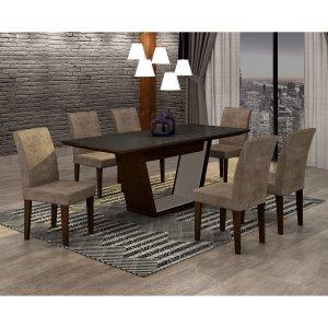 Conjunto Sala de Jantar Mesa Tampo MDF/Vidro 180cm e 6 Cadeiras Alice Rufato Castor/Preto/Animalle Chocolate/Off White