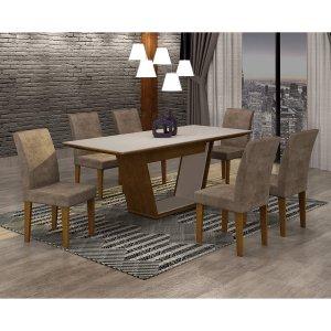 Conjunto Sala de Jantar Mesa Tampo MDF/Vidro 180cm e 6 Cadeiras Alice Rufato Imbuia/Off White/Animalle Chocolate
