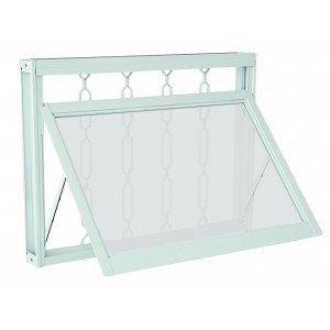 Janela Maxim-Ar Aço com Grade Elo Vidro Mini Boreal Prátika APD Sasazaki 60cmx60cm Branco