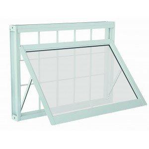 Janela Maxim-Ar Aço com Grade Quadriculada Vidro Mini Boreal Prátika APD Sasazaki 60cmx60cm Branco