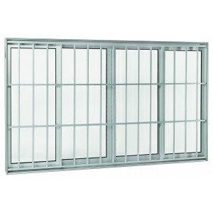 Janela de Correr Alumínio 4 Folhas com Grade sem Bandeira Projetante Aluminium Sasazaki 100cmx200cm Branco