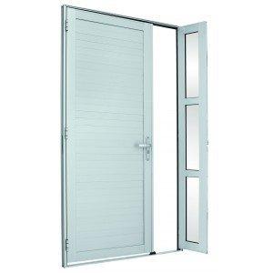 Porta de Alumínio Alumifort Sasazaki com Seteira 1 Folha 216cmx120cmx5,4cm Branco